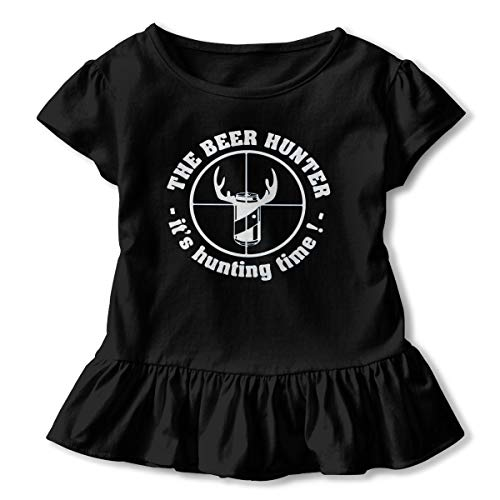 Sheridan Reynolds The Beer Hunter It's Hunting Time Toddler Girls' T Shirt Cotton Basic Outfit Tee Black