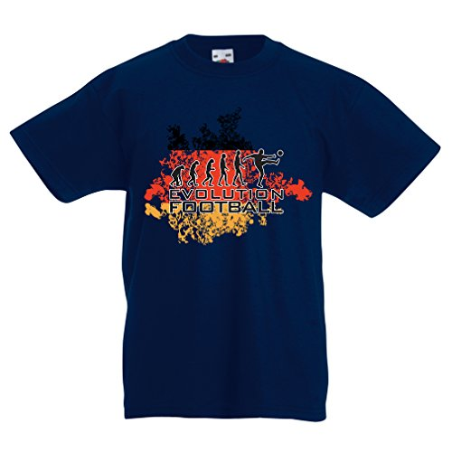 Kids Boys/Girls T-Shirt Football Evolution - Germany, Russia Championship 2018, World Cup Soccer German Team Fan Shirt (12-13 Years Dark Blue Multi Color) (Germany Mini Soccer Ball)