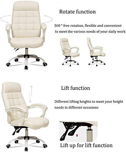 DBL Ergonomisk läder dator skrivbordsstol, enkel spelstol med svängbar ryggstöd pall skrivbordsstolar (färg: med fotstöd, storlek: Brun)