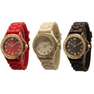 Geneva Women's CZ Crystal Rhinestones Face Bling 3-Piece Red/Beige/Brown with Gold Tone Platinum Silicone Rubber Jelly Bezel Watch