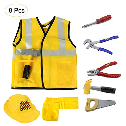 Kids Construction Worker Role Cosplay Cloth for Girls Boys Educational Toy,Career Dress up Costume Set Pretend Tools Chrismas Halloween Performance Tools Machine Washable