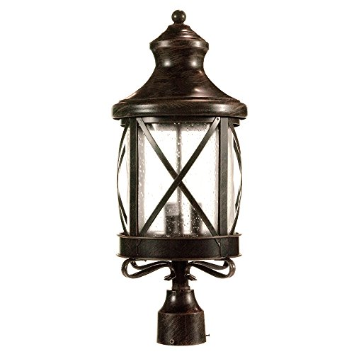 eTopLighting Lux Collection Exterior Outdoor Lantern Light with Rain Glass, Post APL1075 (Outdoor Lighting Post Lights)