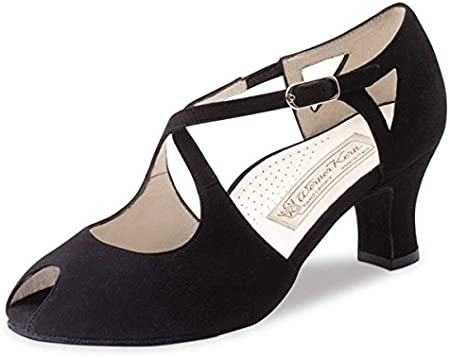 Werner Kern - Mujeres Zapatos de Baile Georgia - Ante Negro - 6 cm