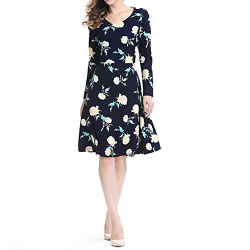 Flare Floral Dress and yellow Casual Fit Floral Ladies Dantiya Long A Navy line Sleeve wFIpZvqn