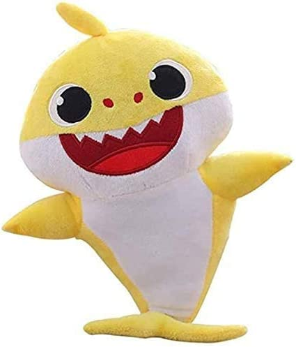 Yellow Childrens Soft Toy with Music and Night Light Singing Plush Shark Toy is The Best Gift for Children HUANXI Soft Toy Shark