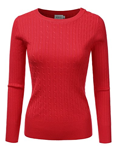 DRESSIS Womens Long Sleeve Round Neck Buttoned Shoulder Cable Knit Sweater Red S (Round Neck Knit Sweater)