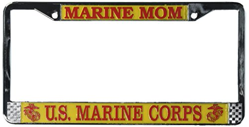 Marine Mom US Marine Corps License Plate Frame (Chrome Metal)