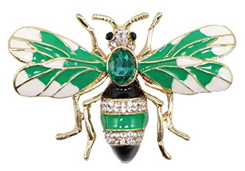 AZfasci Green Bee Antique Brooch Blue Diamond Jacket Jacket Brooch (Green)