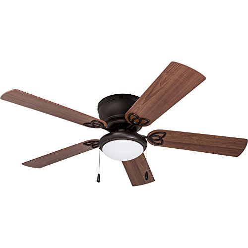 Prominence Home 40271-01 Brealey Hugger Ceiling Fan with LED Bowl Light, Low-Profile, 52 inches, Bronze