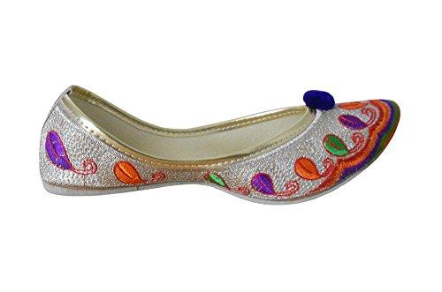 KALRA Creations Damen Traditionelle Handgemachte Rexine indischen Casual Schuhe Multi Color