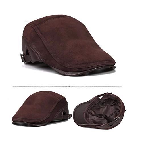 Hombre Otoño 57 Sombrero Europeo Americano E Casual Liuxinda Y 58cm Invierno Marrón Para pm De Cuero OIvO8n7