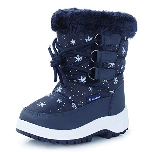 CIOR Kid Snow Boots Winter Outdoor Waterproof with Fur Lined for Girls & Boys (Toddler/Little Kid/Big Kid) TX3,Navy 23N