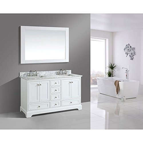 UrbanFurnishing.net - Jocelyn 60-Inch (60'') Bathroom Sink Vanity Set with White Italian Carrara Marble Top - White by UrbanFurnishing.net