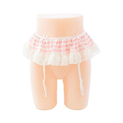 Thong Suspender Belt - TOMORI Womens Cute Garter Belt Striped Ruffle Suspender Belt For Over Knee Stockings (Pink)