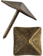 FUXXER® - Sierhoofdnagels, meubelnagels, afdeknagels, sierdoppen, decoratieve nagels, beslag, vintage messing brons antieke look, 19x19 mm, 20 stuks