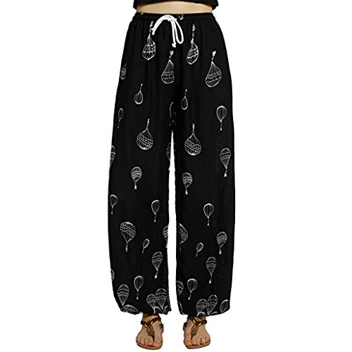 Deal!Forthery Womens Fashion Wide Leg Pants Casual Floral Print Ladies Yoga Pants Harem Pants Jogger Pants(Black,M=US 6)
