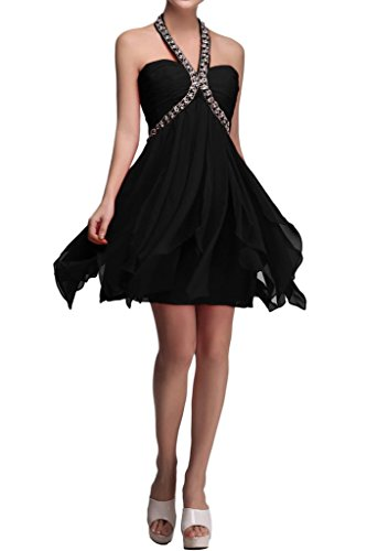 Sunvary A-line Top in Chiffon Prom perline da damigella Homecoming Gowns, Nero, 24W