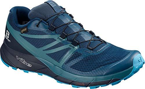 Salomon Men's Sense Ride2 GTX Invisible Fit Trail Running Shoes, Poseidon/Navy Blazer/Hawaiian Ocean, 13