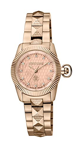 ROBERTO CAVALLI Women's RC-90 Swiss Quartz Watch with Stainless Steel Strap, Rose Gold, 22 (Model: RV2L036M0096)
