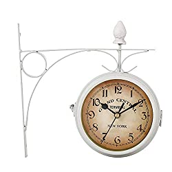European Antique Style Double-Sided Wall Clock, Black Wrought Iron Vintage-Inspired Train Station Style Round Double Sided Two Faces Wall Hanging Clock with Reel Wall Side Mount Home Decoration,White