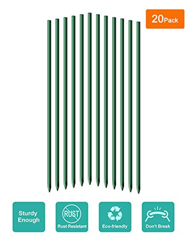 Ecostake Garden Stakes 6-Ft for Climbing Plants Supports Pole 20 Pack Rust-free Plant Sticks Fence Post