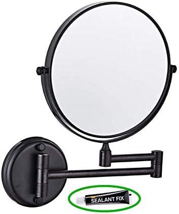 浴室の化粧鏡 3x 拡大ミラー 黒 接着剤固定