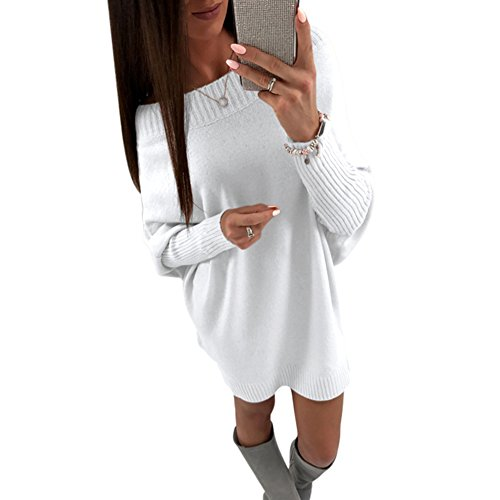 Annystore Women's Crew Neck Pullover Sweater Dress Long Sleeve Loose Knit Club Mini Dress (X-Large, White)