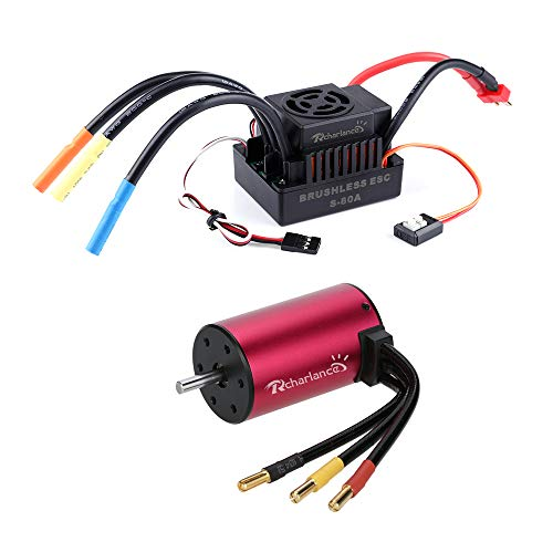 Rcharlance S3660 3800KV Brushless Motor Sensorless 5mm Shaft with 80A ESC Waterproof Brushless Speed Controller Combo Set Upgrade Power System for 1/10 1/8 RC Racing Car Off-Road Truck Vehicle