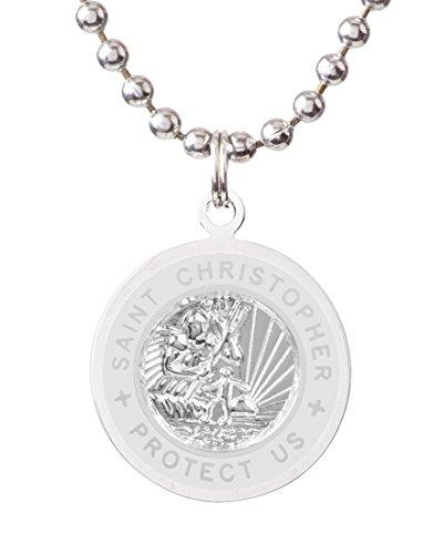 Get Back St. Christopher Surf Necklace | Medium - Silver/White