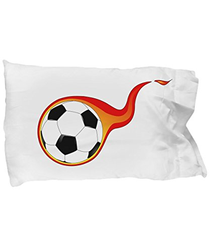 Hot Fresh And Funny Soccer Pillow Cases for Boys - Flaming Ball Pillowcase Bedding by Hot Fresh And Funny