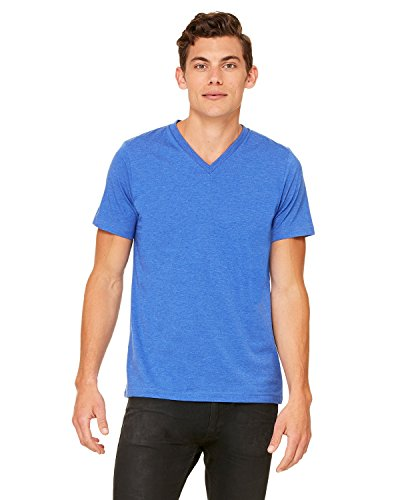 Bella+Canvas Comfortable V-Neck Fitted Jersey T-Shirt, Hthr True Royal, XX-Large