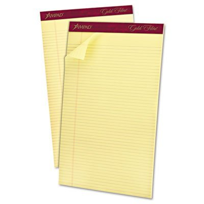 Gold Fibre Pads, Narrow/Margin Rule, Legal, Canary, 50-Sheet Pads/Pack, Dozen, Sold as 12 Each