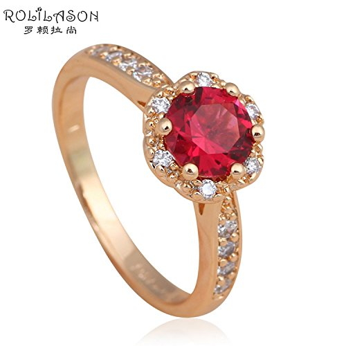 Fantastic 4 Costume Replica (Cherryn Jewelry Fantastic Ruby Ring for Ladies Gold Plated Rose Zirconia Health Fashion Jewelry Golden Element Ring Size 6 7 8 9 JR2050)