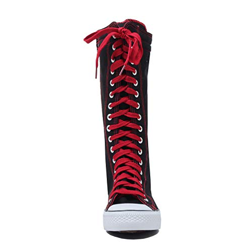 High Canvas Tall Canvas Knee Red Lace Sneakers Black Up short Dw Women's npYwqxBv1q