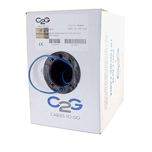 C2G 56010 Cat5e Bulk Cable - Unshielded Ethernet Network Cable with Solid Conductors, Riser CMR-Rated, TAA Compliant, Blue (1000 Feet, 304.8 Meters) (Made in The USA)