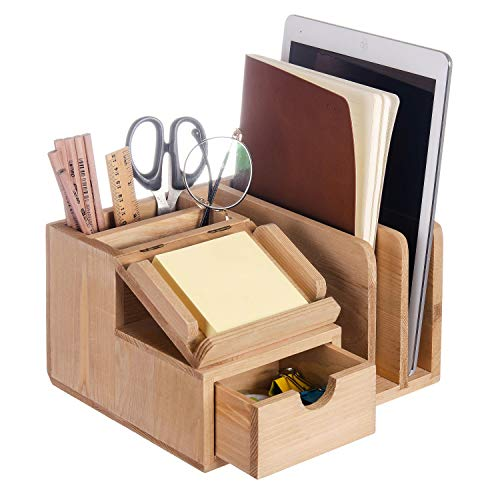 Liry Products Natural Wood Desk Organizer Storage Cabinet Mail File Paper Sticky Note Memo Pad Folder Office Supplies Caddy Tabletop Holder Accessory Sorter Multiple Compartments with Drawer (Vintage Flat File Cabinet)