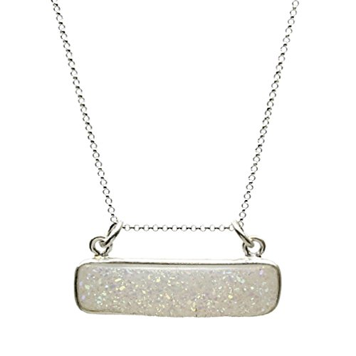 (Druzy Agate Bar Pendant Sterling Silver Cable Chain Necklace 18