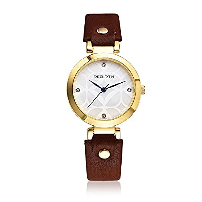REBIRTH Fashion Gold Plated Women's Elegant Rhinestone Soft Leather Strap Quartz Watch