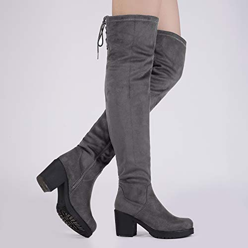 DREAM PAIRS Women's HI_Chunk Grey Over The Knee High Boots Size 5 B(M) US