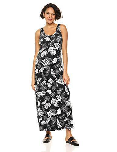 Amazon Essentials Women's Patterned Tank Maxi Dress, Bicolor Palm Black, L