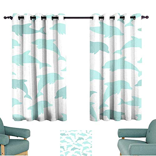 Warm Family Durable Curtain Seamless Pattern with Dolphin on White Design for Holiday Greeting Card and Invitation of Baby Shower Birthday Child Clothes Darkening and Thermal Insulating]()