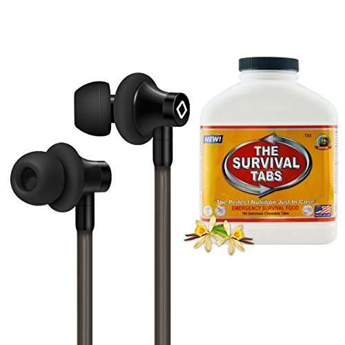 Emergency Food for Camping for 15 Days 180 Tabs of Vanilla + Aircom A3 Anti-Radiation Airtube Stereo Headset with HandsFree Microphone (Black) 180 Vanilla Chewables