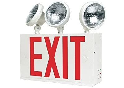 New York City Exit Sign Combo, Nyc-ex-combo, Unique Combination Emergency Lights 20gauge Steel Housing Powder Coated Fully Solid State Charging Circuitry Long Life Red Led Light Source