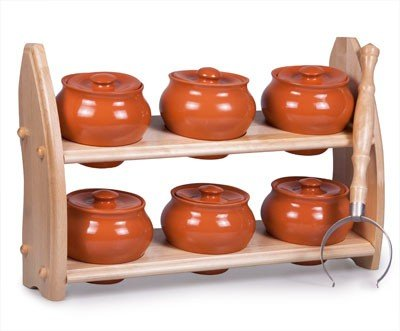 Stoneware Ramekin (Set of 6) w/Wooden Shelf - 16.9 fl oz (500 ml) - Clay Pots for Cooking