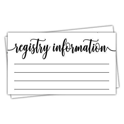 50 Registry Cards - Baby Shower or Bridal Shower - Invitation Inserts