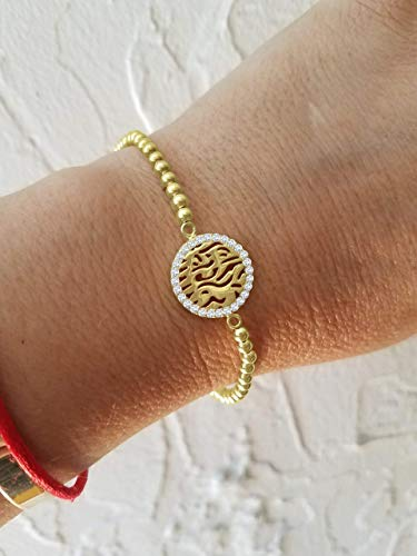 Shema Israel Biblical Blessing Bracelet - Yellow Gold with Gemstones and Beads | Alef Bet by Paula