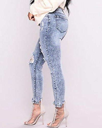 en Slim Taille Jeans Clair Rtro Crayon Dchirs Denim Trous Pantalons Femme Bleu Pantalon Haute YTxWn