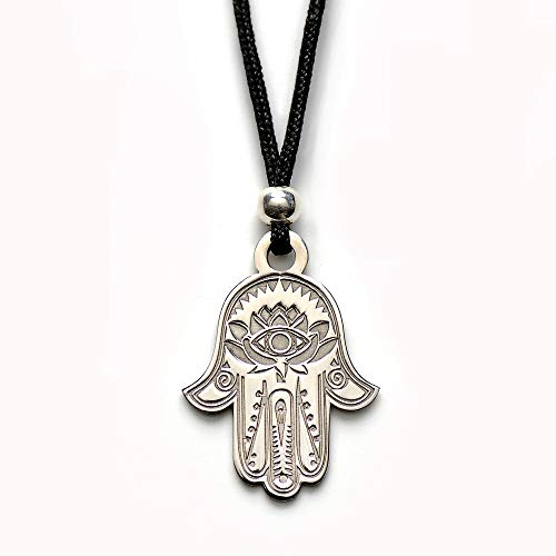 Hamsa Hand of Fatima Pendant Necklace - Evil Eye Protection Lotus Sterling Silver Charm Jewelry Good Luck Success Amulet Black String Rope Adjustable Friendship Handmade Necklace Men & Women