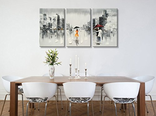 Hand Painted Abstract Cityscape Oil Painting on Canvas Wall Art Black and White Modern Artwork Framed Ready to Hang for Home Decoration 60 W x 30 H 20 x 30 x 3 pcs