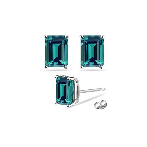 - 1.45-1.85 Cts of 6x4 mm AAA Emerald Russian Lab created Alexandrite Stud Earrings in 14K White Gold